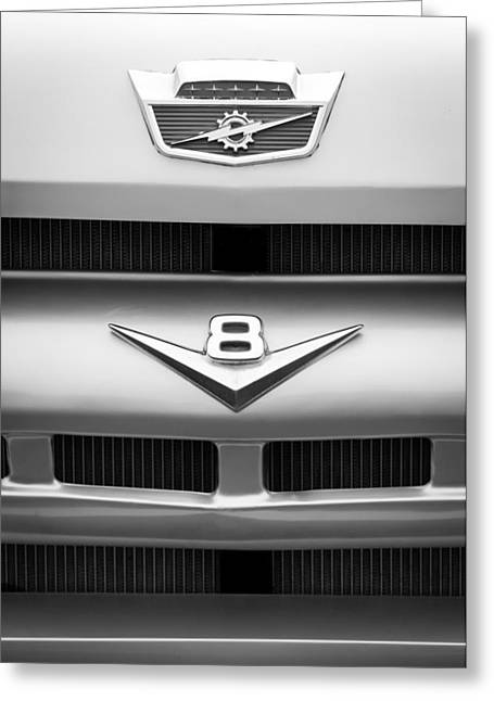 Ford Custom Greeting Cards - Ford Grille V8 Emblem Custom Cab Greeting Card by Jill Reger