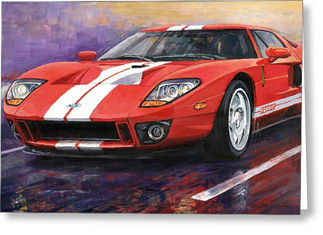 Cars Greeting Cards - Ford GT 2005 Greeting Card by Yuriy  Shevchuk