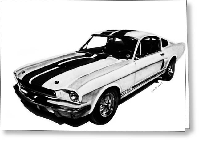 Ford Mustang Drawings Greeting Cards - Ford GT 350 Greeting Card by Kristin  O