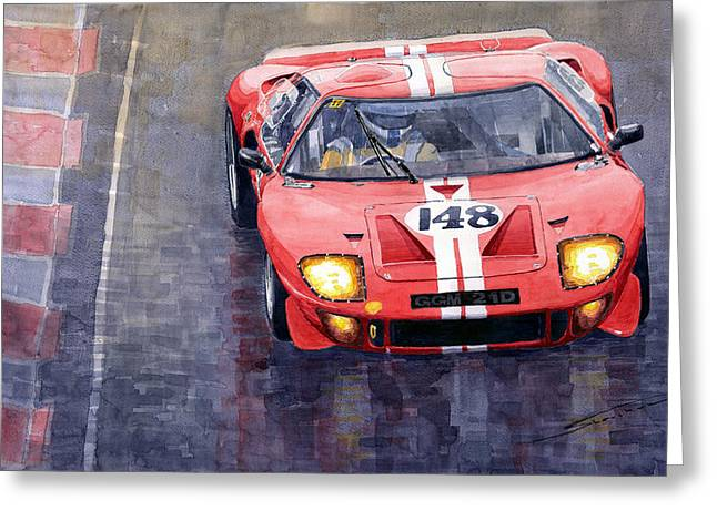 Ford Gt 40 24 Le Mans  Greeting Card by Yuriy  Shevchuk