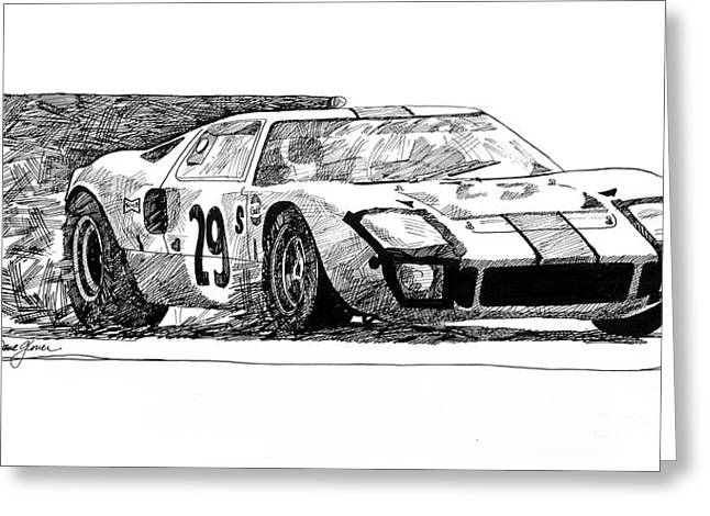 Automotive Drawings Greeting Cards - Ford GT - 40 Greeting Card by David Lloyd Glover