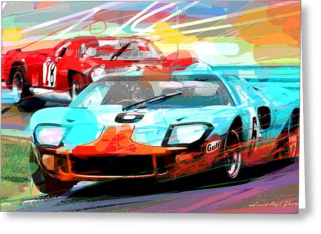 Vintage Auto Greeting Cards - Ford Gt 40 Leads The Pack Greeting Card by David Lloyd Glover