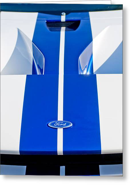 Ford Automobiles Greeting Cards - Ford GT Hood Emblem -0097c Greeting Card by Jill Reger