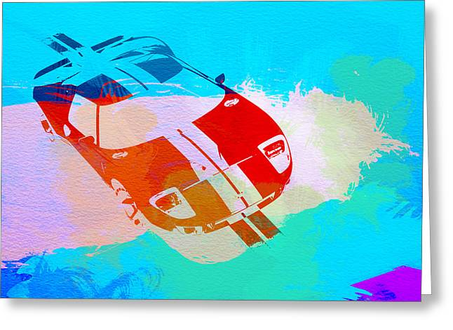 Ford Greeting Cards - Ford GT Watercolor  Greeting Card by Naxart Studio