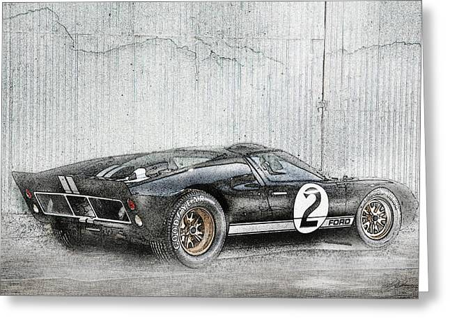 Winner Digital Art Greeting Cards - Ford GT40 Greeting Card by Peter Chilelli