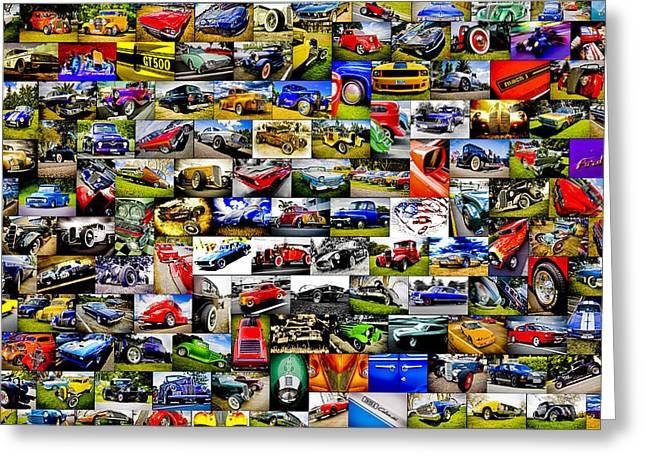 Phil Motography Clark Greeting Cards - Ford Hot Rod Collage Greeting Card by motography aka Phil Clark