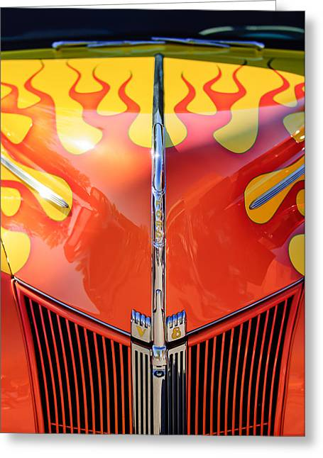 Hot Ford Greeting Cards - Ford Hot Rod Flamed Hood -264c Greeting Card by Jill Reger