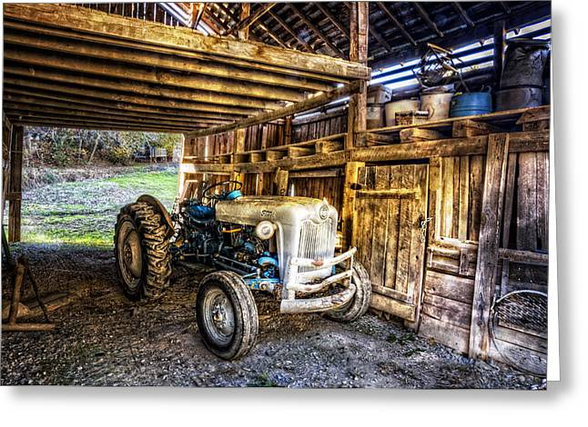 Chalmers Greeting Cards - Ford in the Barn Greeting Card by Debra and Dave Vanderlaan