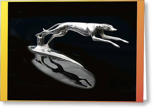 Vintage Hood Ornaments Greeting Cards - Ford Lincoln Greyhound Mascot Greeting Card by Jack Pumphrey