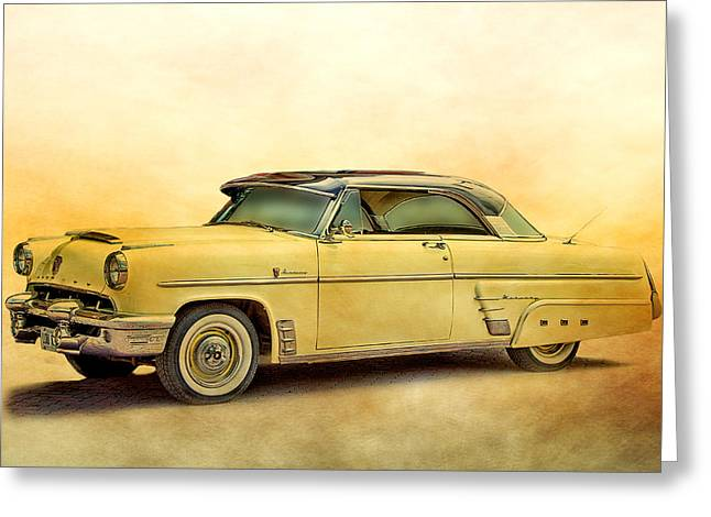 Collector Hood Ornament Mixed Media Greeting Cards - Ford Mercury Greeting Card by Linda Muir