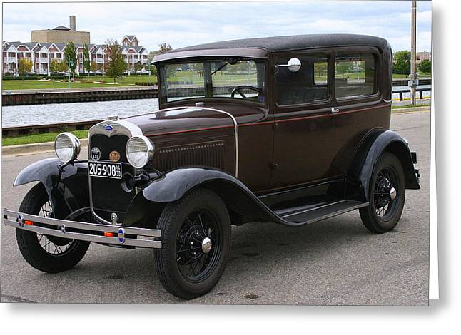 Ford Brown Print Greeting Cards - Ford Model A  Greeting Card by Kay Novy