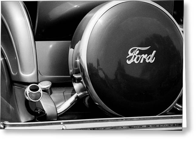 Ford Model T Car Drawings Greeting Cards - Ford Model A Roadster 1931 Spare Wheel Greeting Card by David M Davis