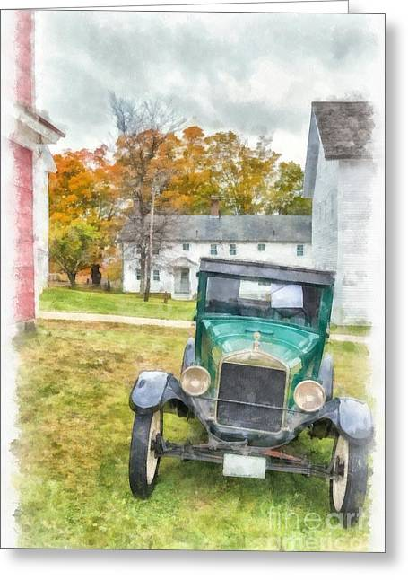 Old Structure Greeting Cards - Ford Model A Sedan Greeting Card by Edward Fielding