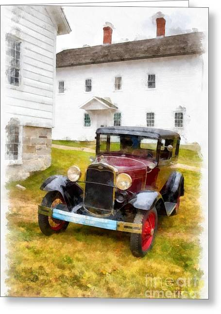 White Barns Greeting Cards - Ford Model A Watercolor Greeting Card by Edward Fielding