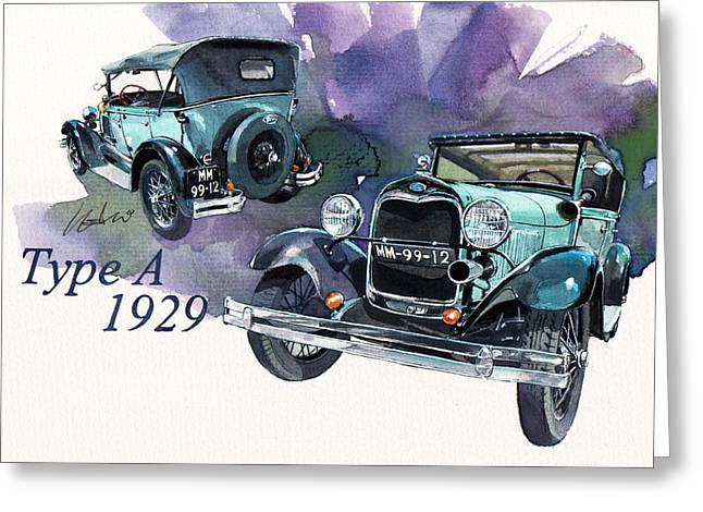 Ford Model A Greeting Cards - Ford Model A Greeting Card by Yoshiharu Miyakawa