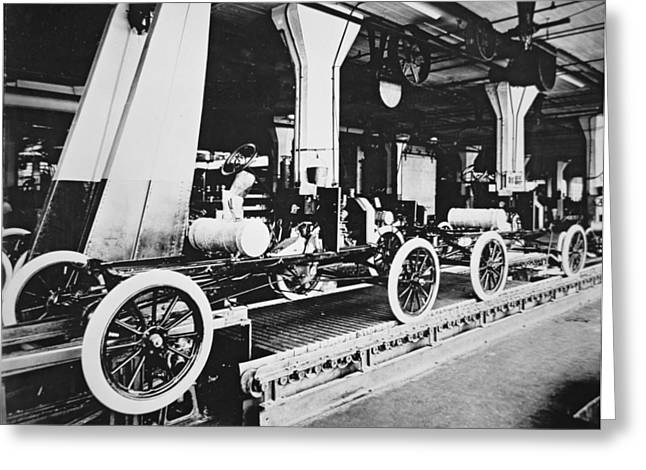 Conveyor Belt Greeting Cards - Ford Model T Motor Car During Manufacture Greeting Card by American Photographer