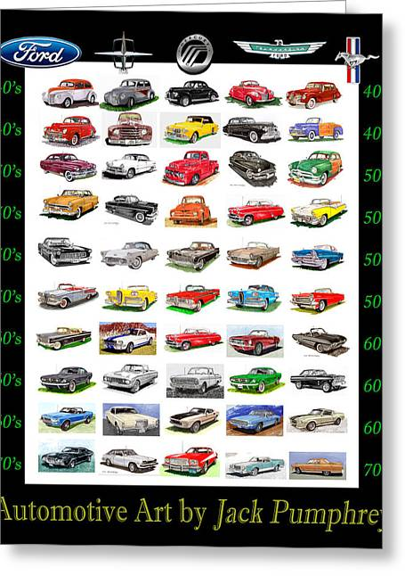 Mark Drawings Greeting Cards - Four decades of Fords Poster Greeting Card by Jack Pumphrey