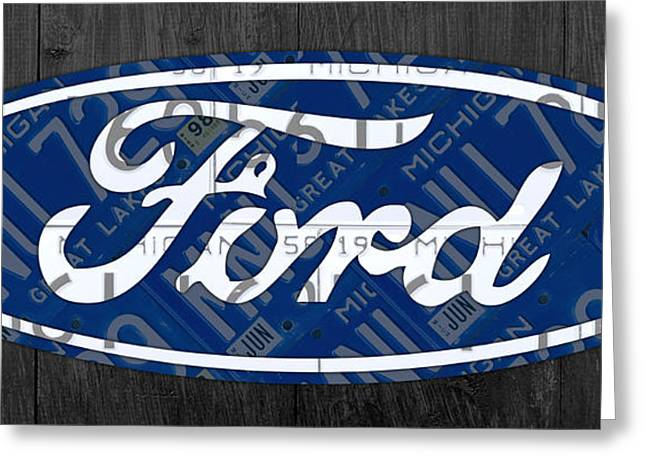 Highway Greeting Cards - Ford Motor Company Retro Logo License Plate Art Greeting Card by Design Turnpike