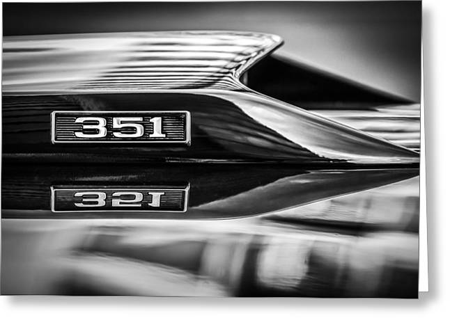 Ford Engine Greeting Cards - Ford Mustang 351 Engine Emblem -1011bwq Greeting Card by Jill Reger