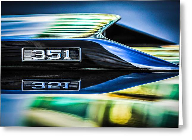 Ford Engine Greeting Cards - Ford Mustang 351 Engine Emblem -1011c Greeting Card by Jill Reger