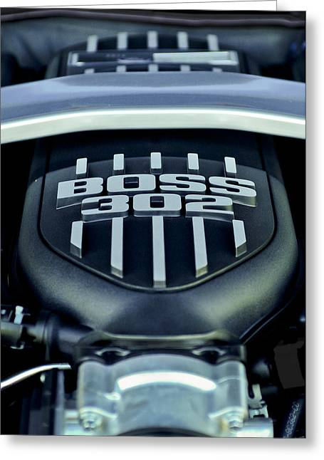 Mustang Greeting Cards - Ford Mustang Boss 302 Engine Greeting Card by Jill Reger
