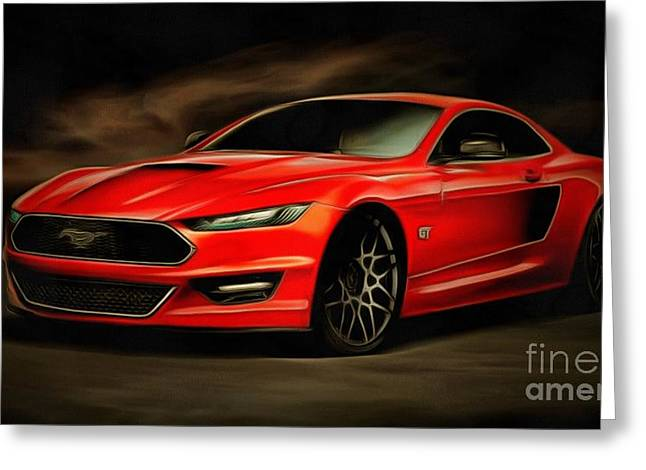 Ford Brown Print Greeting Cards - Ford Mustang Greeting Card by Catherine Lott