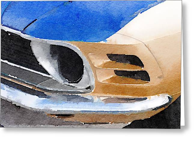 Ford Mustang Greeting Cards - Ford Mustang Front Detail Watercolor Greeting Card by Naxart Studio