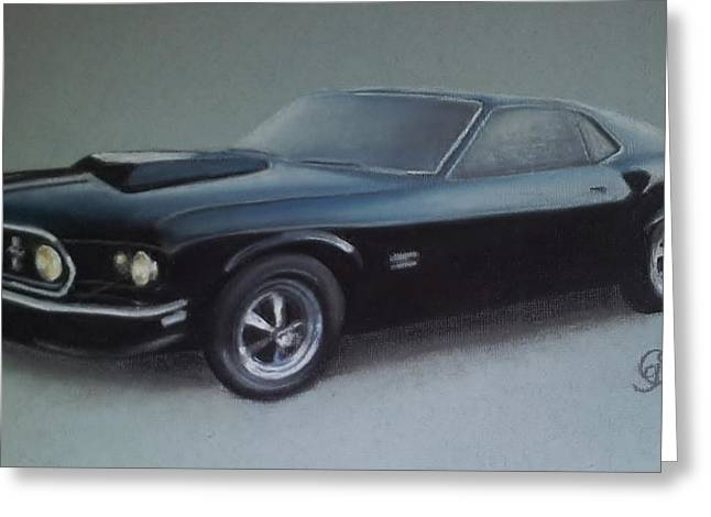 Historic Vehicle Pastels Greeting Cards - Ford Mustang Greeting Card by Gea Scheltinga
