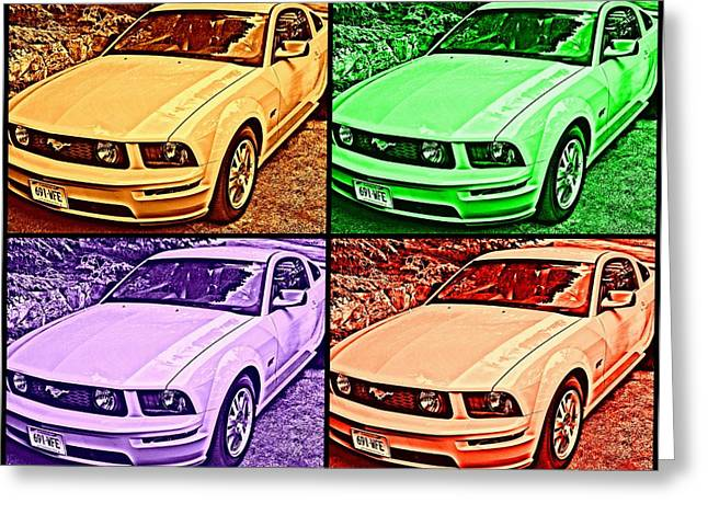 Ford Mustang Drawings Greeting Cards - Ford Mustang GT Collage 1 Greeting Card by Aurelio Zucco