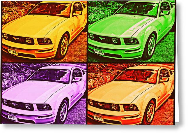 Ford Mustang Drawings Greeting Cards - Ford Mustang GT Collage 2 Greeting Card by Aurelio Zucco