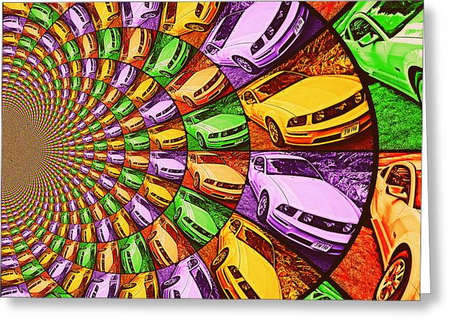 Ford Mustang Drawings Greeting Cards - Ford Mustang GT Collage 3 Greeting Card by Aurelio Zucco