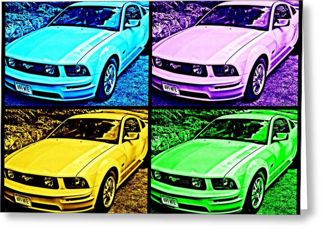 Ford Mustang Drawings Greeting Cards - Ford Mustang GT Collage 4 Greeting Card by Aurelio Zucco