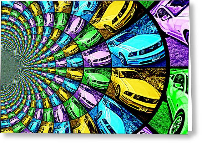 Ford Mustang Drawings Greeting Cards - Ford Mustang GT Collage 5 Greeting Card by Aurelio Zucco