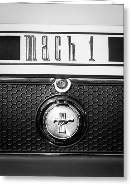 Mach 1 Greeting Cards - Ford Mustang Mach 1 Emblem Greeting Card by Jill Reger