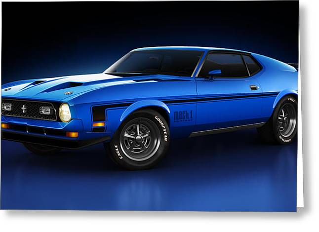 Super Real Greeting Cards - Ford Mustang Mach 1 - Slipstream Greeting Card by Marc Orphanos