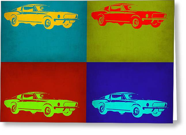 Muscles Greeting Cards - Ford Mustang Pop Art 1 Greeting Card by Naxart Studio