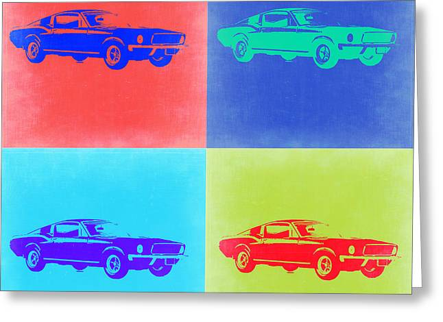Old Car Greeting Cards - Ford Mustang Pop Art 2 Greeting Card by Naxart Studio