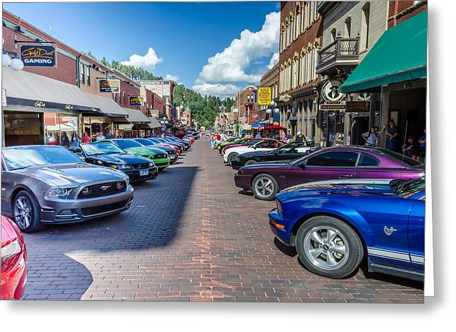 Rally Greeting Cards - Ford Mustang Rally Deadwood SD Greeting Card by Debra Martz