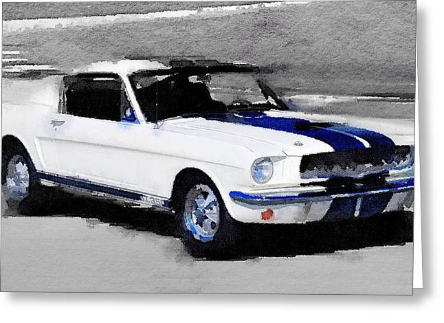 Ford Mustang Greeting Cards - Ford Mustang Shelby Watercolor Greeting Card by Naxart Studio