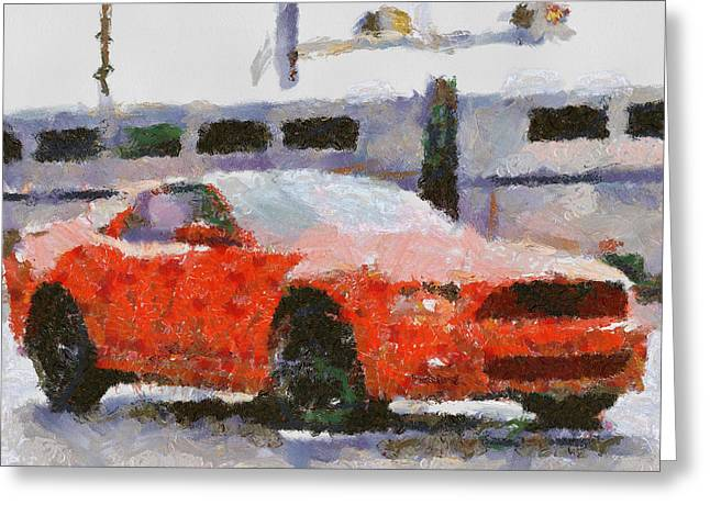 Carroll Shelby Paintings Greeting Cards - Ford Mustang V6 2013 Greeting Card by Teara Na