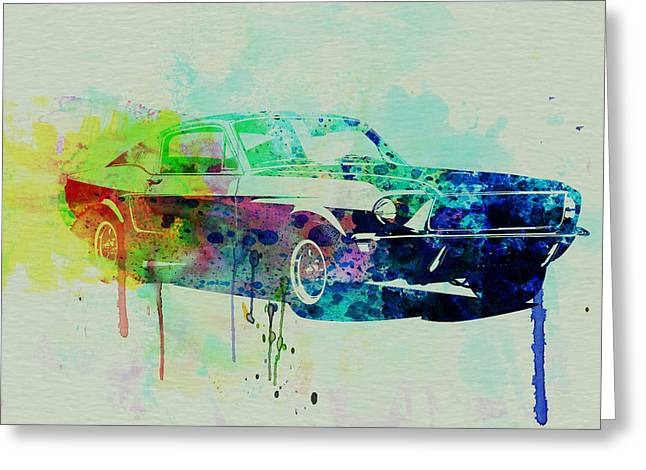 Racing Car Greeting Cards - Ford Mustang Watercolor 2 Greeting Card by Naxart Studio