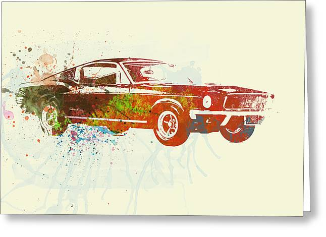Racing Car Greeting Cards - Ford Mustang Watercolor Greeting Card by Naxart Studio