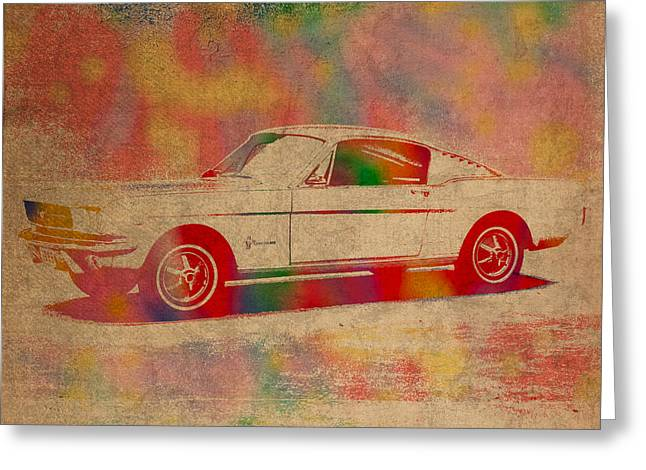 Mustang Greeting Cards - Ford Mustang Watercolor Portrait on Worn Distressed Canvas Greeting Card by Design Turnpike