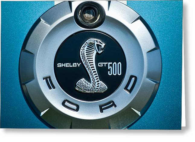 Famous Photographers Greeting Cards - Ford Shelby GT 500 Cobra Emblem Greeting Card by Jill Reger
