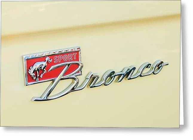 Broncos Greeting Cards - Ford Sport Bronco Emblem Greeting Card by Jill Reger