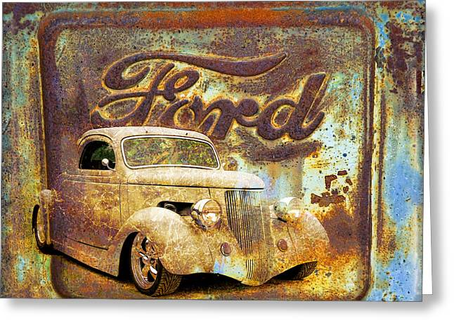Graffitti Coupe Greeting Cards - Ford Coupe Rust Greeting Card by Steve McKinzie