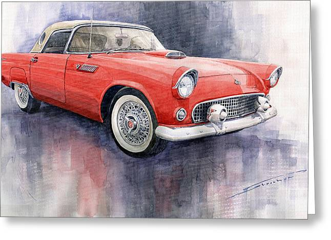 Old Car Greeting Cards - Ford Thunderbird 1955 Red Greeting Card by Yuriy  Shevchuk
