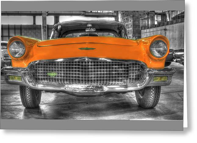 Ford Model T Car Greeting Cards - Ford Thunderbird Convertible Orange 2 Greeting Card by John Straton