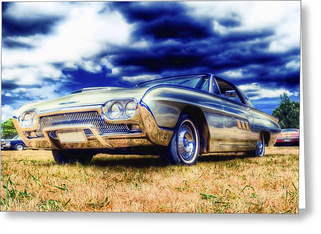 Ford Hotrod Greeting Cards - Ford Thunderbird HDR Greeting Card by Phil