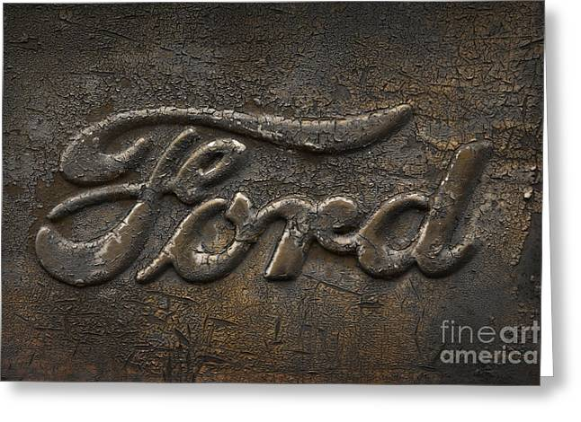 Rusted Cars Greeting Cards - Ford Rugged Truck Logo Greeting Card by John Stephens